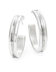 Uno De 50 Textured Hoop Earrings Silver