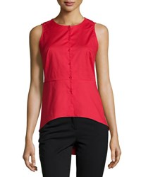 Neiman Marcus Solid Button Front Peplum Blouse Red