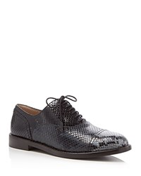 Marc Jacobs Clinton Snake Embossed Lace Up Oxfords Navy Multi