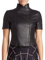 Akris Punto Leather Biker Jacket Black