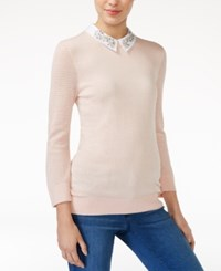 Maison Jules Embellished Collar Sweater Only At Macy's Pearl Blush