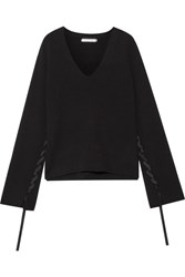 Helmut Lang Ribbon Detailed Wool And Cashmere Blend Sweater Black