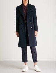 Claudie Pierlot Wool And Cashmere Blend Coat Navy