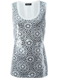 Twin Set Sequinned Floral Tank Top White