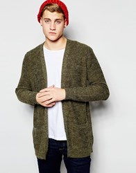 New Look Fluffy Cardigan In Khaki