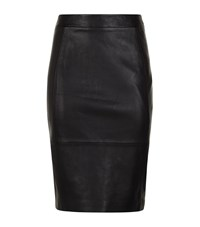 Reiss Avril Leather Panel Skirt Female Black