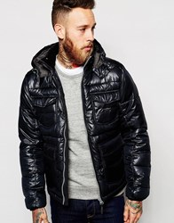 Lee Quilted Jacket Loco Detachable Hood Black