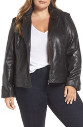 3c8324b8fd694 Bernardo Plus Size Lambskin Leather Moto Jacket Black