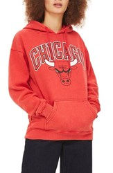 Topshop By X Unx Chicago Bulls Hoodie Red Multi