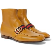 Gucci Donnie Webbing Trimmed Leather Chelsea Boots Yellow
