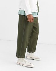 Noak Wide Leg Trousers In Khaki Texture With Contrast Stitch Green