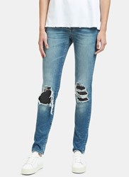 Saint Laurent Destroyed Leather Patch Skinny Jeans Blue