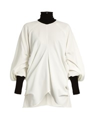 J.W.Anderson Contrast Trim Roll Neck Crepe Top White Black