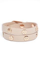 Women's Tory Burch Double Wrap Logo Bracelet Light Oak Rose Gold