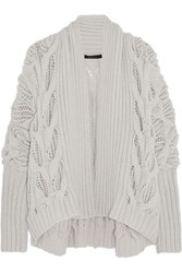 Donna Karan Draped Cable Knit Cashmere Cardigan White