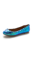 Marc By Marc Jacobs Grainy Oil Slick Studded Mouse Ballerina Flats Mineral Blue