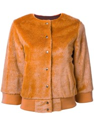 En Route Textured Cropped Jacket Yellow Orange