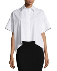 Alice Olivia Edyth High Low Short Sleeve Shirt White