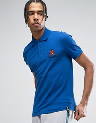 Love Moschino Embroidered Chest Polo Shirt Blue