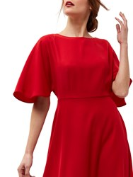 Jaeger Batwing Fit And Flare Dress Bright Red