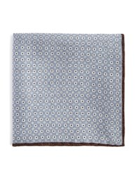 Bloomingdale's The Men's Store At Double Sided Circle Print And Solid Pocket Square Gray Brown