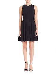 Rebecca Taylor Textured Fit And Flare Pleated Dress Black