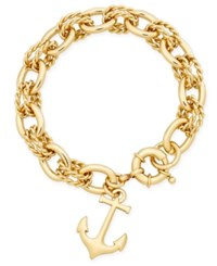 Charter Club Gold Tone Fancy Link Anchor Charm Bracelet Only At Macy's