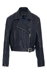 Sally Lapointe Distressed Leather Moto Jacket Blue