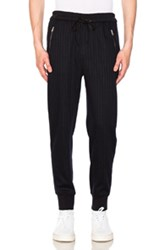 3.1 Phillip Lim Dropped Rise Tapered Sweatpant In Blue Stripes Blue Stripes