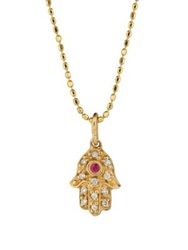 Sydney Evan Diamond Ruby And 14K Yellow Gold Hamsa Pendant