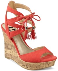 G By Guess Estes Platform Wedge Sandals Women's Shoes Coral