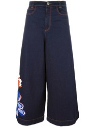 See By Chloe Flower Patch Denim Culottes Blue