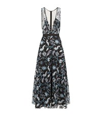 Sandro Feather Embroidered Overlay Dress Female Black