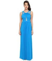 Faviana Mesh Gown With Illusion Center Front 7741 Laguna Blue Women's Dress