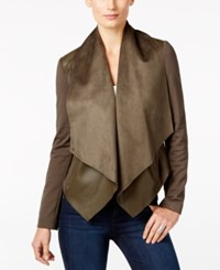 Kut From The Kloth Faux Leather Trim Draped Jacket Olive