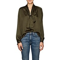Juan Carlos Obando Washed Satin Blouse Olive