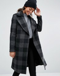 New Look Check Smart Coat Black Pattern