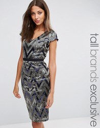 Paper Dolls Tall V Neck Cap Sleeve All Over Sequin Pencil Dress Silver