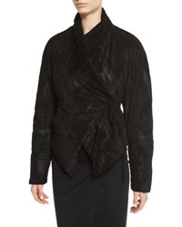 Urban Zen Padded Suede Wrap Front Jacket Black