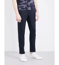 Sandro Slim Fit Tapered Linen Trousers Navy Blue