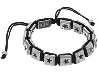 King Baby Studio Macrame Bracelet With Single White Alloy Square Star Beads