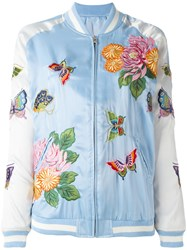 P.A.R.O.S.H. Floral Embroidery Bomber Jacket Blue