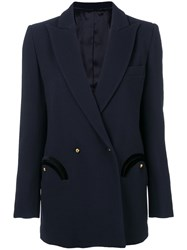 Blaze Milano Trimmed Pocket Blazer Cotton Cupro Viscose Wool I Blue