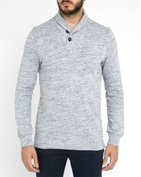 G Star Mottled Grey Xauri Ezra Shawl Collar Sweater