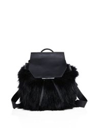 Kendall Kylie Nancy Faux Fur Backpack Cream Tan