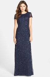Petite Women's Adrianna Papell Short Sleeve Sequin Mesh Gown Navy