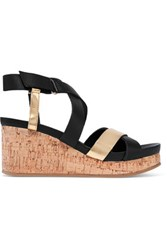 Dkny Lani Metallic Leather Wedge Sandals Black