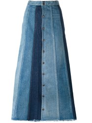 Saint Laurent Patchwork Denim Long Skirt Blue