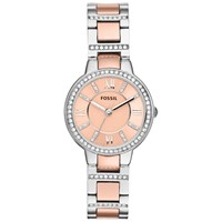 Fossil Women's Virginia Two Tone Stainless Steel Bracelet Strap Watch Rose Gold Silver