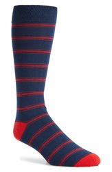 The Tie Bar 'Ripon Stripe' Socks Navy Red